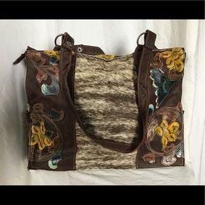 Embossed Cowhide Leather Tote Tandy Bag